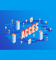 access gradient isometric text design on abstract vector image vector image