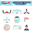 aviation icons set airline station airport symbols vector image vector image