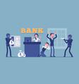 bank robbery masked criminals vector image