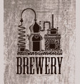 beer banner with brewery equipment in retro style vector image