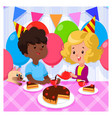 Birthday party with happy kids and cake on bright