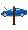 Blue sports sedan on a lift vector image vector image