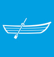 boat with paddle icon white vector image vector image