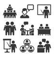 business conference and meeting icons set vector image