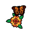 butterfly with flower leaves floral ornament vector image