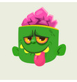 cartoon cute happy zombie head showing tongue vector image vector image