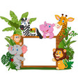cartoon wild animals holding blank board vector image vector image