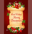 christmas card on old paper scroll with xmas gift vector image