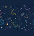 color seamless space pattern hand drawn planets vector image