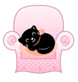 Cute sleeping Cat on pink Sofa isolated on white vector image