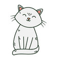 cute white cat sitting pet icon vector image vector image