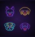 dogs cute kawaii neon light characters vector image