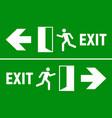emergency fire exit sign evacuation fire escape vector image vector image