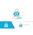 eye and lock logo combination unique safe vector image