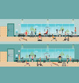 fitness cardio exercise and equipment with people vector image