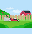 flat lawn mower on farm vector image
