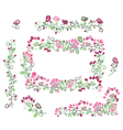 floral elements pink green vector image