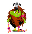 forest witch with pet bird magpie on her head vector image vector image