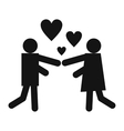 Girl and boy black icon vector image vector image