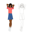 Girl Denim Fashion African Color No 1 vector image vector image