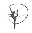 girl gymnast with ribbon vector image