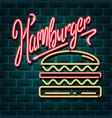 hamburger neon advertising sign vector image