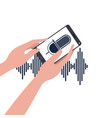hands with smartphone and voice assistant vector image vector image