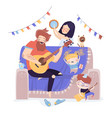 happy family playing music vector image vector image
