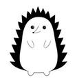 hedgehog urchin black contour silhouette cute vector image