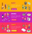 home party concept banner horizontal set isometric vector image vector image