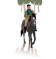 horse and rider for a walk in the woods vector image vector image