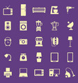 household color icons on purple background vector image vector image