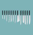 isometric knives butcher meat knife set cleaver vector image