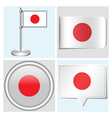 Japan flag - sticker button label flagstaff vector image vector image