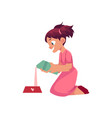little girl pouring milk into pet bowl vector image vector image