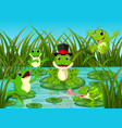 many frogs on leaf with river scene vector image vector image