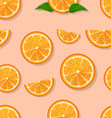 oranges slices on a white background seamless vector image vector image