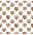 pattern with cute owls on white background vector image