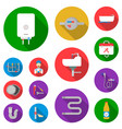 plumbing fitting flat icons in set collection for vector image