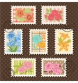 postage stamps set Flower collection vector image