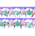 poster of christmas pictures with people on ice vector image vector image