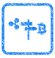 ripple and bitcoin road pointer framed stamp vector image vector image