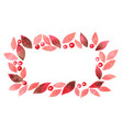 romantic red leaf and berry frame watercolor vector image vector image