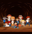scene with many kids exploring cave vector image vector image