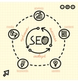 SEO process with arrows words and web icons vector image