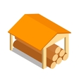 Shed icon isometric 3d style vector image