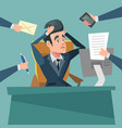 shocked multitasking businessman stress at work vector image vector image