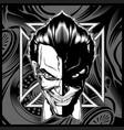 skull demon head black white hand drawing vector image vector image