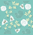 soft teal floral repeat seamless pattern vector image vector image