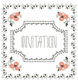 vintage invitation card with frame and peach vector image